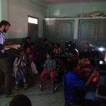 Jake teaching kids in the Dar Chebab