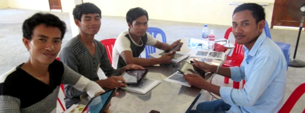 Sustainable Schools International in Cambodia configuring the KoC supplied HP Touchpad tablets